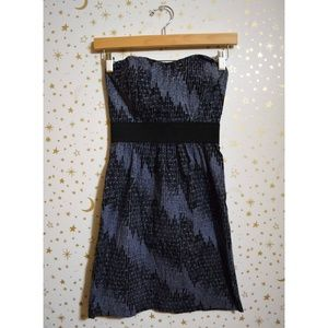 Urban Outfitters Blue & Black Strapless Dress XS